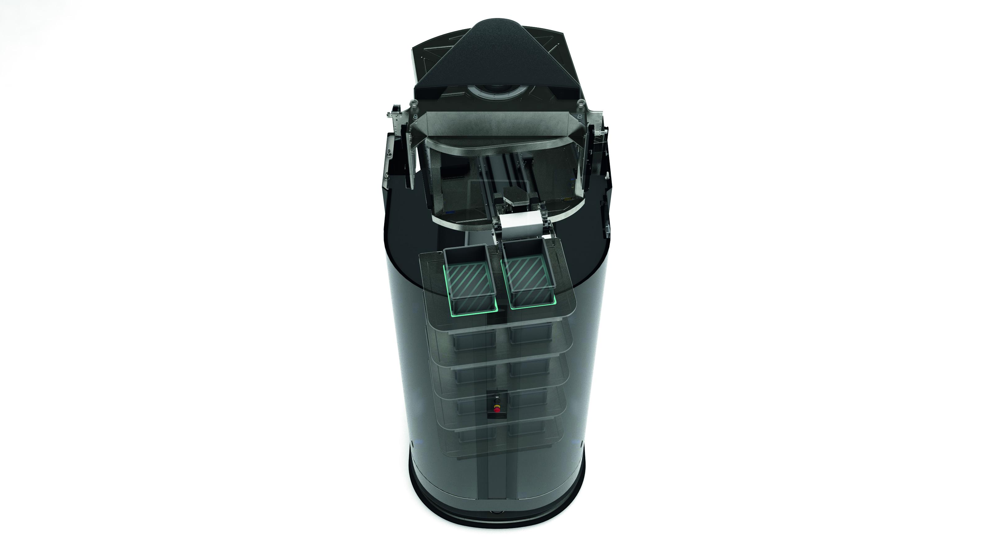 Kleinladungsträger mit einem Gewicht von 15 kg. Bis zu 10 Behälter kann der Roboter in seinem Rucksack-Regal zwischenlagern.