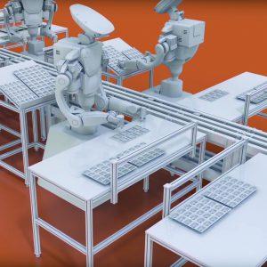 Humanoide Roboter unterstützen Menschen bei der Arbeit. Bildverarbeitung leistet die sichere Übergabe von Bauteilen.