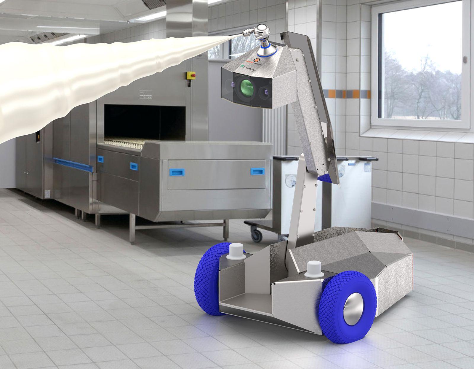 Der ausfahrbare Roboterarm des Mobile Cleaning Device 4.0 mit Zielstrahlreiniger erreicht auch höher gelegene Anlagenbereiche, Foto: Fraunhofer IVW
